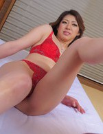 Reina Nishio Asian rubs dick between her labia just licked by man