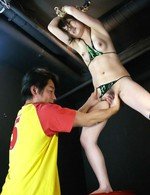 Suspended Huwari fingered and peeing before a facial