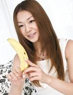 Sakura Hirota Asian licks banana, black dildo and hard phallus