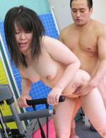 Seira Rando Asian with vibrator in cunt sucks dick of gym trainer