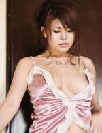 Ruri Kouda Asian rubs stiffy between her oiled and naughty boobs