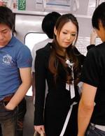 China Mimura Asian has stockings ripped to get black dildo