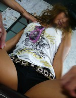 Glam Japanese babe Rumika oiled up and double-dicked