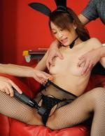Yuu Kusunoki Asian gets vibrator through stockings till squirts