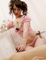 Kanae Serizawa Asian in pink lingerie sucks dick and rubs it