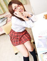 Rino Mizusawa Asian with uniform and specs sucks two shlongs