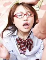 Rino Mizusawa Asian in uniform gets cum on specs from blowjobs