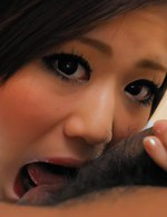 Rin Saotome Asian has shaved pussy fucked through cut red shorts