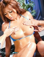 Hina Maeda Asian with fine oiled boobies has crack in frigging