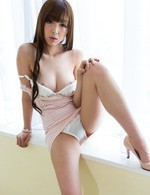 Anri Asian gal exposes juicy cans before receiving dick in slit