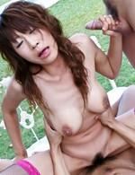 Asuka Ishihara Asian slut sucks and is screwed by shlongs outdoor