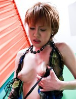 Kaoru Amamiya Asian gives blowjob and takes dick between boobs