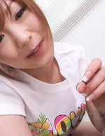 Miku Airi Asian in t-shirt is so good at licking and sucking cock