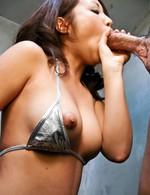 Aya Asian nymphet licks phallus and rubs it of her big bazoom bas