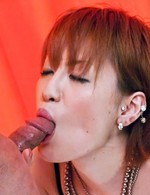 Kaoru Amamiya Asian with tits out of lingerie sucks hard penis