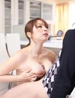 Araki Hitomi Asian takes cock between her big boobs abd licks cum