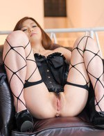 Nao Asian doll in corset gets vibrator on pink and fingered crack