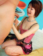 Cute playful Miriya Hazuki ends up with cream in her tiny hole