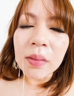 Miruku Ichigo Asian sucks and rubs two tools and gets cum on face