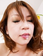 Miruku Ichigo Asian has sperm pouring from mouth after blowjob