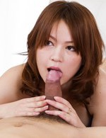 Miruku Ichigo Asian shows cum on tongue after sucking phallus