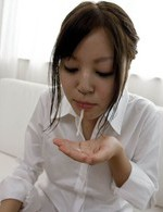 SARA Asian doll in shirt uses skilled tongue at licking shlong