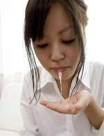 SARA Asian doll in shirt uses skilled tongue at licking shlong