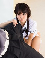 Kotomi Asian doll in uniform shirt shows she loves to suck cock