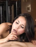 Maria Ozawa Asian rubs dong of her big boobs and licks it so well