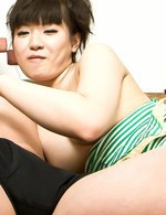 Akane Ozora Asian gets vibrator on dark nipples and on fish taco