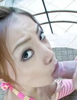 Rei Serizawa Asian in long socks rubs cock between her titties